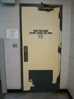 Why do you think this door didn't get finished painted? Did they run out of paint, go on a break?