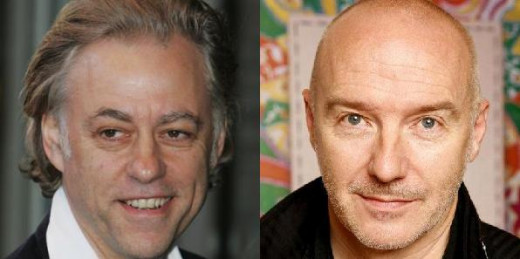 Left: Bob Geldof; Right: Midge Ure. Yup, white men. From the UK, no less.