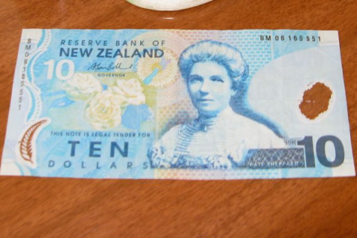 Kate Sheppard on the New Zealand Ten-dollar note.