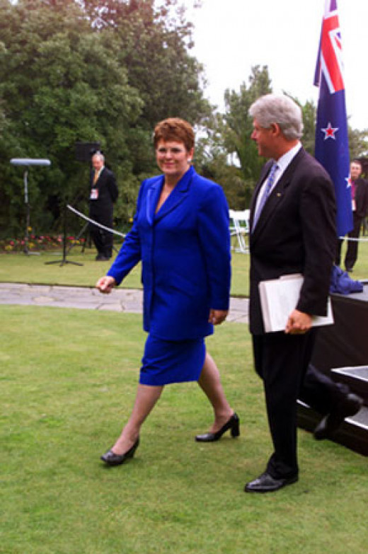 United States President Bill Clinton meets with Prime Minister of New Zealand Jenny Shipley.  The two leaders step down from the podium following their press conference. September 15, 1999.  Photo Credit - http://en.wikipedia.org/wiki/Jenny_Shipley