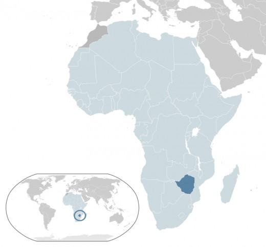 Map showing Zimbabwe's location