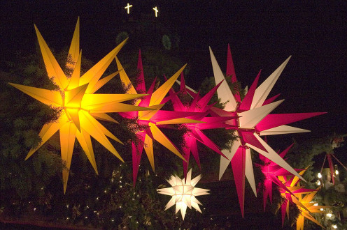 Display of Moravian Stars at Christmas.