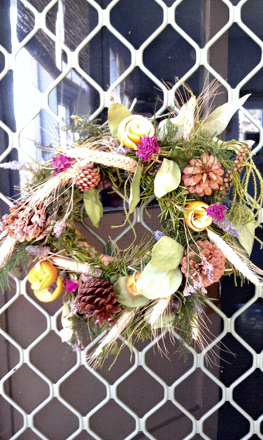 Home-made garden wreath