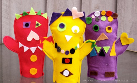 Shape monster puppets made out of felt.  An ideal craft project for preschoolers.