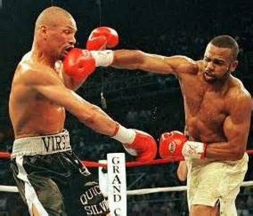 Roy Jones landed a fight ending body shot in the 4th heat to knock Quick Silver out. Jones has power in both of his fists.