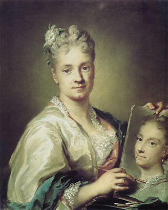 Self-portrait holding a portrait of her sister (1715or 1709) pastel on paper. This pastel is in the Uffizi Gallery