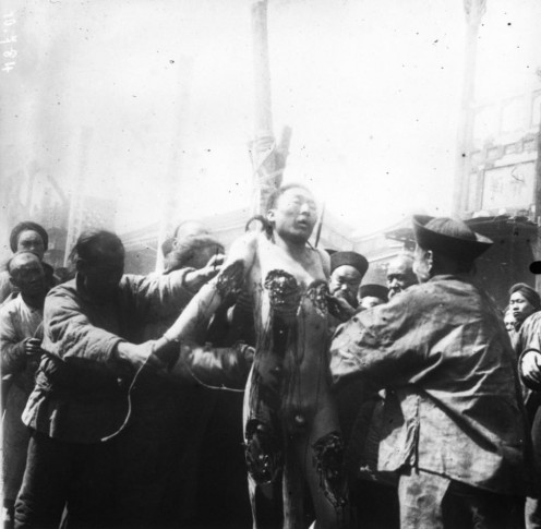 Torture in China 1904. Looks effective! (public domain)