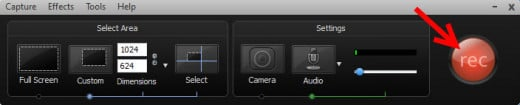 Camtasia Recording Button