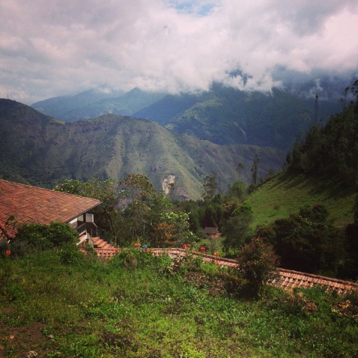 A view from the hills above Baños in Ecuador.