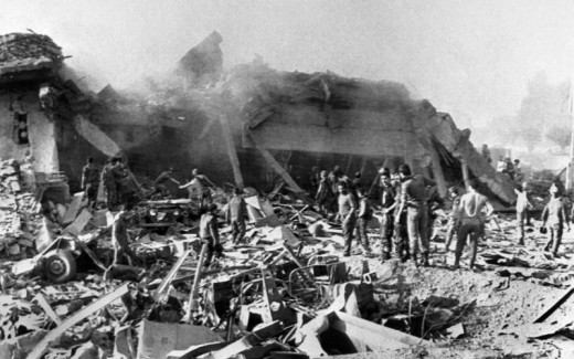 Marine Headquarters after the blast that took place on October 23, 1983, killing 241 American Marines.