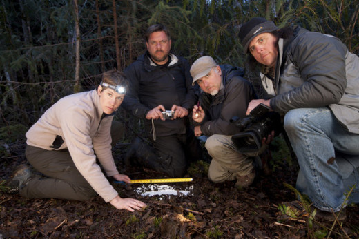 "The Bigfoot Team - From Left to Right - Ranae Holland, Matt MoneyMaker, Cliff Barackman, James ""Bobo"" Fay"