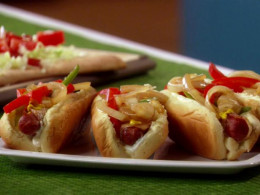 Here we have fully loaded bacon wrapped hot dogs that are so very delicious.