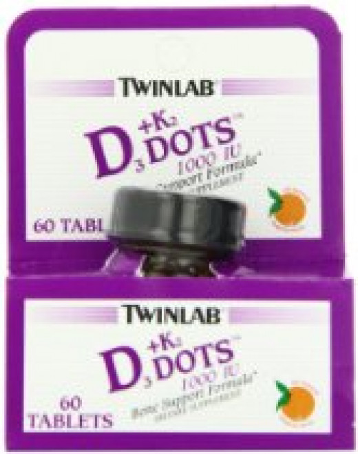 TWINLAB offers D3 & K2 Dots - one tangerine flavored dot equals 1,000IU of D3 and 90 mcg of K2. Dissolves on tongue. Ideal for those with swallowing problems.