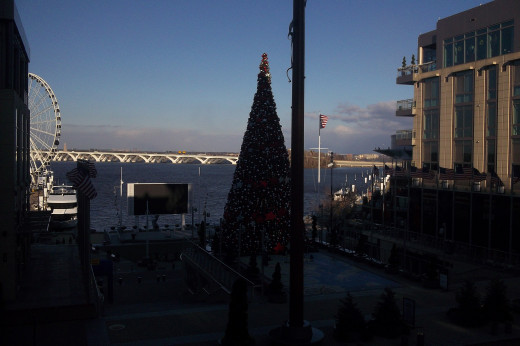 The National Harbor with Christmas Tree and Potomac River.