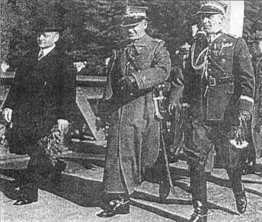 From left to right: Voivode of the Silesian Voivodeship Michał Grażyński, Marshal Edward Rydz-Śmigły and Division-General Władysław Bortnowski.