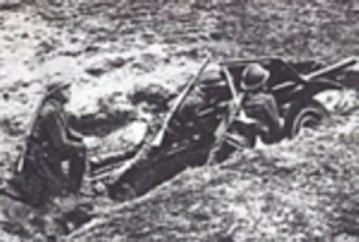 Polish dug-in antitank gun.