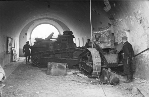 Destroyed Polish FT-17 tanks at the northern gate of Brest fortress.