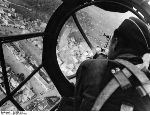 View of a Polish city from the gunner's position of a He-111 bomber.
