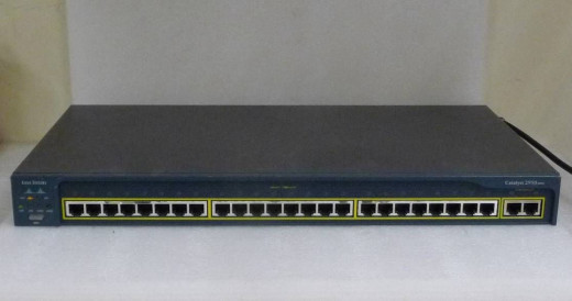 A regular, plain-Jane Cisco 2950 looks JUST like this... just MINUS the additional 2 Ethernet ports on the far Right End.