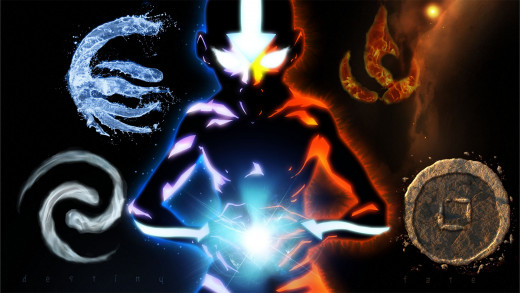 Aang and the four elements