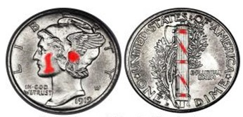 High Points on the Mercury Dime where wear first appears.