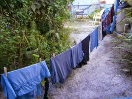 This is the clothes line I use instead of a clothes dyer.  It is low because I am so short!