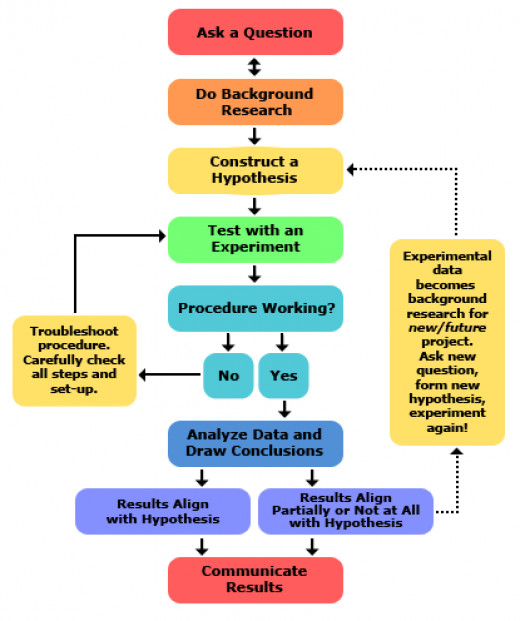 This diagram illustrated the steps of the scientific method in an easy to read format.