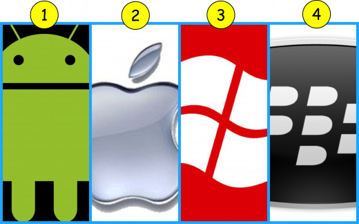 Left to right:  Android, IPhone, Windows, Blackberry