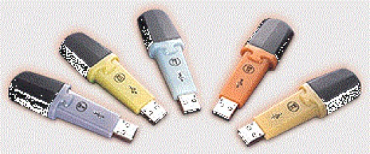 A picture of DiskOnKey 2.0 devices. The different colours indicate different storage capacities.