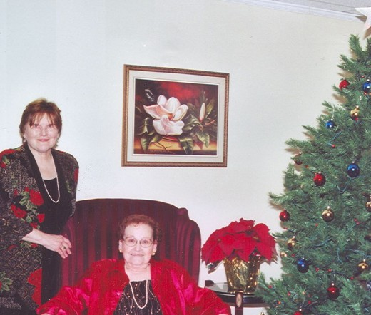Mom with me at a Christmas event, December, 2005