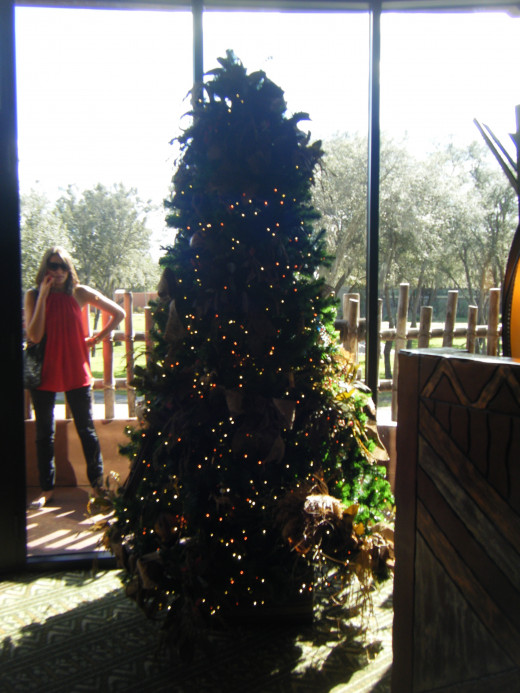 One of the many Christmas trees around the resort at Kidani Village, the DVC (Disney Vacation Club) portion of Animal Kingdom Lodge.