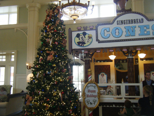 There are several trees in the lobby at Boardwalk.