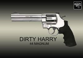 "This is a .44 Magnum. This is the gun that Clint ""Harry Callahan"" Eastwood used in his Dirty Harry films."