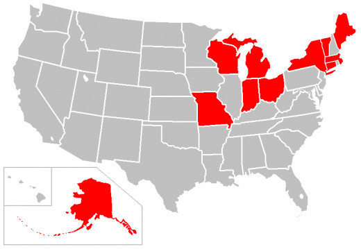 States that have reported 'Frost Quakes'