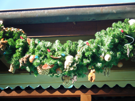 Some of the garland on one of the shops at Animal Kingdom.