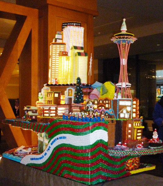 A Seattle scene made of gingerbread at the Seattle Sheraton Gingerbread Village 2014