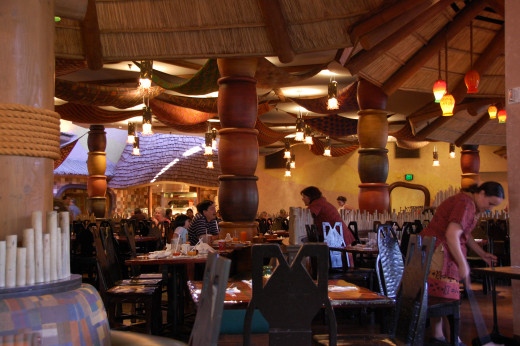 Inside Boma - a great buffet at Disney's Animal Kingdom Lodge.   Try the zebra domes - they're delicious!