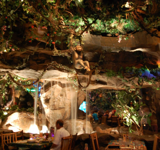The Rainforest Cafe has a wonderfully themed interior and a menu that has something for everyone.
