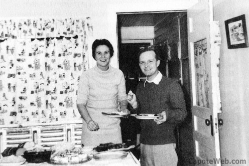 Nelle Harper Lee with Truman Capote spending Christmas 1957 together at a friend's home.