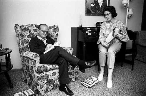 1966, Nelle assists Capote as he pre-signs copies of his book. They are in Holcomb, Kansas during the making of the movie, adapted from his book.