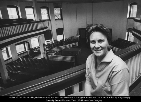 Harper Lee visiting the courthouse in Monroeville, Alabama