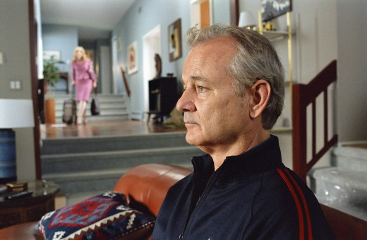 Womanizer Don (Bill Murray) sits on the couch as his girlfriend, Sherry (Julie Delpy) gathers her stuff and moves out.