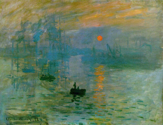 "Impression, soleil levant (Impression Sunrise) 1872 by Claude Monet - this is the painting that gave rise to the term ""Impressionism"""