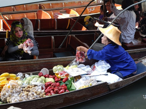 Traditional floating market in Thailand.
