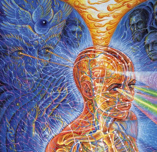 Alex Grey is an extraordinary artist and visionary. He runs COSM, the Chapel of Sacred Mirrors, in Wappingers Falls NY. He painted cover art for Tool's albums; the topics the songs delve into are existential, much like Grey's work.