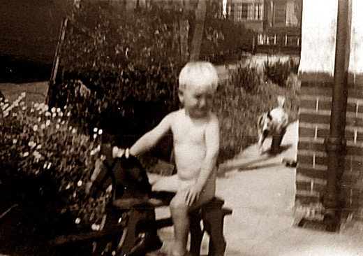 My brother Eric as a toddler in the garden in Leeds, his dog Peggy in the background.