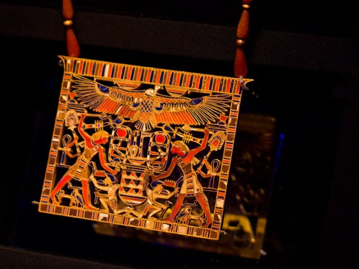 A pectoral of King Amenemhatt III from the 12th dynasty inlaid with Carnelian, tuquoise, and lapis lazuli.