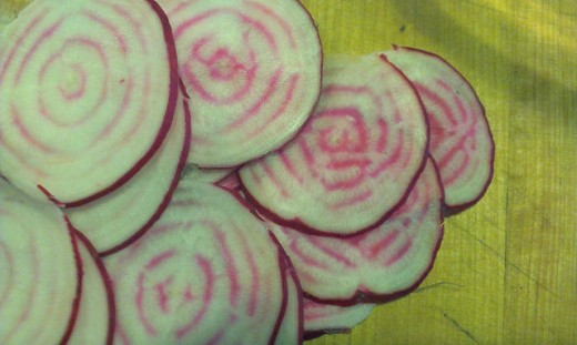 "Beet ""Chioggia"" sliced to show internal rings"