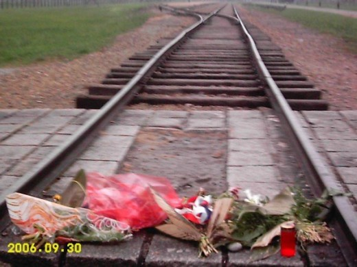 It is very common to find flowers, candles, and other funerary gifts around former concentration/death/labor camps like Auschwitz I and Auschwitz-Burkunau.  You can either bring your own flowers or you can purchase them onsite.