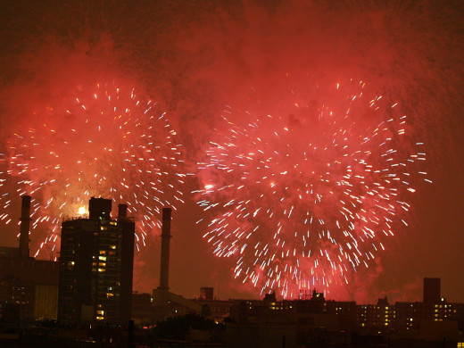 New York City's East Village in Manhattan Fourth of July Fireworks
